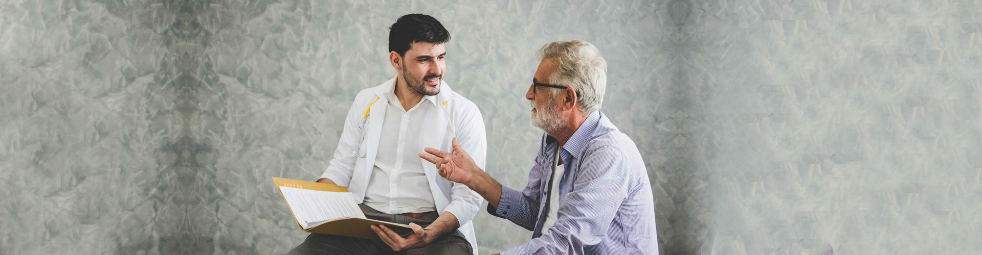 adult man with a doctor during a checkup